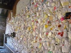 This is one of the most romantic things ever. Verona, Italy (Romeo & Juliet), this wall was filled with love notes from tourists and locals. It is located just adjacent of Juliet's balcony.