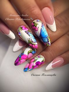On trend floral nails, French tips, summer nails, cute nails, pink purple  and white nails