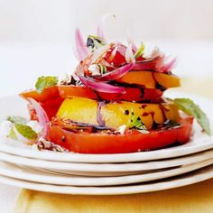 Tomato Salad with Pickled Red Onions #BHG #recipe #food #heirloomtomatoes #tomatosalad #foodie #yummy