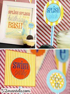 Free swim party printables