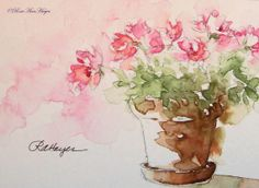 Pink Flowers Print of Original Watercolor Painting by RoseAnn Hayes, available in Etsy shop