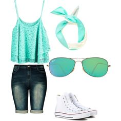 Day out by alannaxjonnesx on Polyvore featuring polyvore, fashion, style, Converse and Ray-Ban
