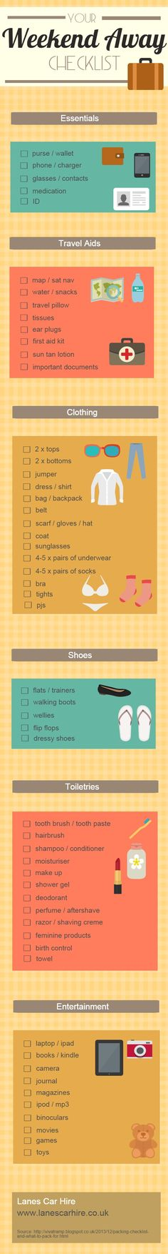 Your Weekend Away Checklist #infographic #Travel #CheckList