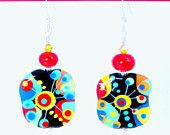 Items similar to Colorful Earrings, Blue Lampwork Earrings, Red Lampwork Earrings, Yellow Lampwork Earrings, Funky Earrings on Etsy Funky Earrings, Drop Earrings, Yellow, Blue, My Style, Red, Etsy, Colorful, Jewelry