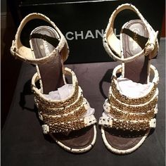 889251d57 Chanel White Tweed Chains Quilted and Cc Pearls Pumps Sandals Size EU 42  (Approx.