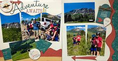 """Adventure Awaits"" camping scrapbook layout - 2 page layout using Adventure Awaits Kiwi Kit club for June 2018 - Used the packaging for the Title! - Kiwi Lane Templates used: Wilderness: 4,6 - Elements 1 - Tags 4 - Highlights 7T - Paisley Place 2A,2B,3A,3B - Designed by: Leslie Prinkki"