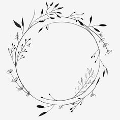 Floral Embroidery Patterns, Embroidery Art, Tattoo Schwarz, Vine Border, Vine Wreath, Wreath Drawing, Floral Drawing, Decorative Borders, Small Tattoo Designs