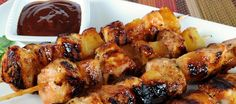 Barbecue Chicken & Pineapple Skewers--Need to tell Chris about this one Alice! I Love Food, Good Food, Yummy Food, Tasty, Barbacoa, Grilling Recipes, Cooking Recipes, Cooking Ideas, Food Ideas