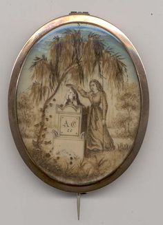 mourning brooch....circa 1800-30   beautiful example of hairwork on ivory....entire picture is hairwork!