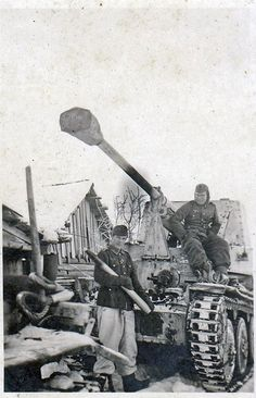 The German soldiers in self-propelled vehicles Marder III winter on the Eastern front.