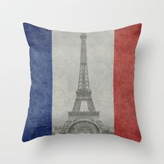 National Flag of France with Eiffel Tower  with Vintage treatment Throw Pillow by LonestarDesigns2020 - Flags Designs + - $20.00