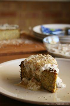 Our vegan, healthier interpretation of a classic dessert. Orange poppy seeds almond cake served with a thick fig 'cream'.