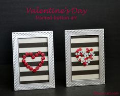 Get frames from DT! How to make Valentine's day button framed art work | Debbiedoos (use white buttons to make a snowflake one?)