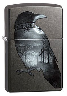 Zippo Lighter: Double Exposed Raven - Gray Dusk 29407 - Gray Dusk Finish Includes the world famous Zippo Lifetime Guarantee Environmentally Friendly Gifts, Cool Lighters, Lighter Fluid, Zippo Lighter, Colour Images, Dusk, Light Colors, Style
