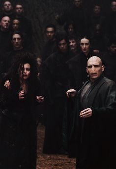Helena Bonham Carter as Bellatrix Lestrange & Ralph Fiennes as Voldemort - Harry Potter and the Deathly Hallows: Part 2 Casas Do Harry Potter, Mundo Harry Potter, Harry Potter Cast, Harry Potter Characters, Harry Potter Universal, Harry Potter Fandom, Harry Potter World, Hogwarts, Slytherin