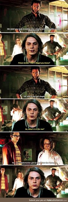 """Quicksilver – X-Men: Days of Future Past """"You, you kleptomaniac, get to break into the Pentagon."""" Quicksilver – X-Men: Days of Future Past """"You, you kleptomaniac, get to break into the Pentagon. Xman Marvel, Marvel Comics, Marvel Memes, Days Of Future Past, Evan Peters, Narnia, Captain Marvel, Captain America, Fangirl"""