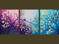 """Original Modern Abstract Heavy Texture Palette Knife Impasto Painting Tree Landscape Wall Decor """"Songs of Birds and Scent of Flowers"""" by anita Three Canvas Painting, Multiple Canvas Paintings, Simple Canvas Paintings, Tree Paintings, Painting Abstract, Painting Art, Watercolor Painting, Diy Canvas, Canvas Art"""