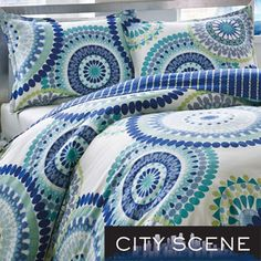 City Scene Radius 3-piece Cotton Duvet Cover Set-overstock