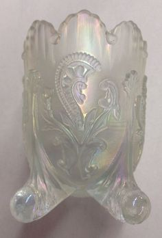 Vintage Clear Carnival Glass Toothpick Holder Footed