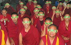 "Tibetan Buddhist monks try out ""rainbow glasses"" as part of the Science for Monks program presented by BHSU professor Dr."