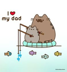 I ❤️ my dad Pusheen Love, Pusheen Cat, American Eskimo Dog, Comic Pictures, School Notes, Cute Diys, Cute Characters, Cat Love, Funny Cats