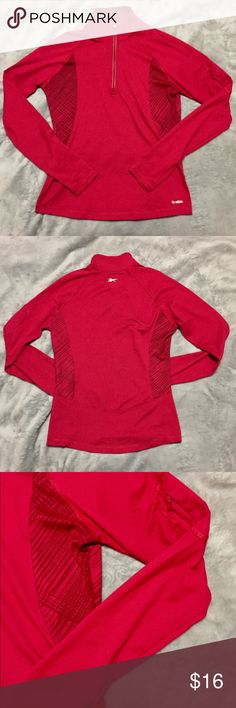 Reebok Red Track Zip Up Athletic Jacket SZ Small Excellent condition!!! Like new. Size Small. Red. Lightweight. Has a pocket on the upper portion of the sleeve (see pic). The fabric is incredibly soft. Great for workouts, crossfit, yoga, running or everyday wear. 89% Polyester and 11% Spandex Jersey. Reebok Jackets & Coats