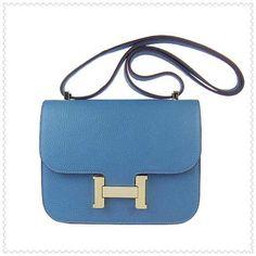 f016a667ccf Hermes Constance Togo Leather Shoulder Bag H017 Blue(Silver Hardware) Hermes  Constance Bag,