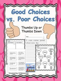 Milestone Flash Freebie~One week only  I am so grateful to all my followers and for reaching my first milestone. Enjoy this product as you get your students thinking about making good choices. Students will sort good choices and poor choices on a cut and paste activity and color code activity.