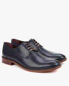 Classic leather derby shoes - Dark Blue | Footwear | Ted Baker ROW