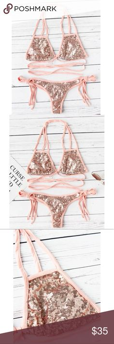 Sexy Sequin Bikini Set Tie Around Waist Size(cm) : S:60cm Size Available : Small  Bottoms Length(cm) : S:19cm Top Length(cm) : S:14cm Bust(cm) : S:76cm Type : Bikinis Chest pad : NO Top : Halter Top Color : Pink Style : Sexy L17- BUY NOW WHILE YOU CAN. SOLD OUT EVERYWHERE Swim Bikinis