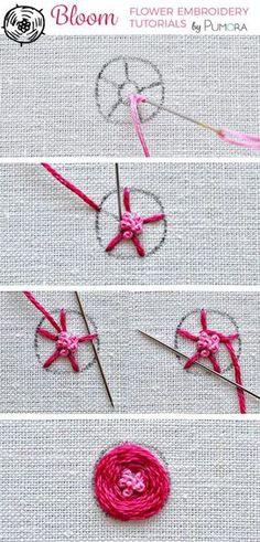 flower embroidery tutorial - woven rose with knotted center