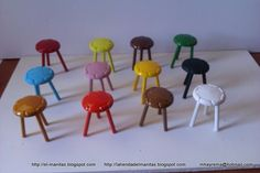 cute stools made with buttons and dowels tutorial