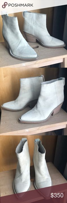 Authentic ACNE suede ankle boots, white, size 37 Hello,  For sale is a pair of authentic ACNE Studios suede ankle boots in white. They are a size 37. These boots are in great condition but do have natural signs of wear on the suede. Please see photos for details.  Original retail $570.  Pet and smoke free home. Always stored in dust bags.   Please let me know if you have any additional questions.   Thank you, Cameron Acne Shoes Ankle Boots & Booties