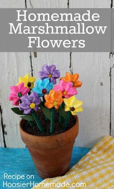 Homemade Marshmallow Flowers :: Recipe on HoosierHomemade.com
