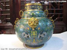 Royal dynasty 100% Pure bronze 24K Gold Cloisonne Dragon Crane Lion Pot Vase