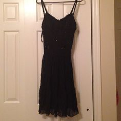 Sale! Black Cache Semi Formal Dress Spaghetti strap dress with sequin detailing. great for a wedding or semi formal event. Worn only one time. Cache Dresses