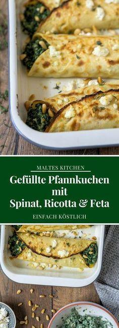 Gefüllte Pfannkuchen mit Spinat, Ricotta & Feta | #Rezept von malteskitchen.de