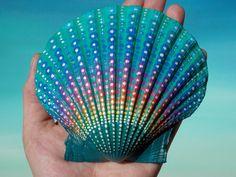 Large Painted Seashell, Coastal Decor, Mermaid Treasure, Dot Painting, Mandala, Painted Seashell by Kaila Lance by KailasCanvas on Etsy