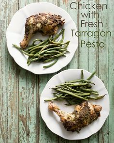 A great way to use up fresh tarragon from your herb garden! Tarragon makes a delicious pesto that keeps this chicken so moist and flavorful in this Chicken with Fresh Tarragon Pesto. Chicken Feed, Baked Chicken, Healthy Chicken Recipes, Cooking Recipes, Drink Recipes, Mouth Watering Food, Fabulous Foods, Tasty Dishes, Gluten Free Recipes