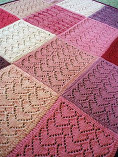 Free Knitting Pattern for Sweethearts Baby Blanket - Baby Blanket . Free Knitting Pattern for Sweethearts Baby Blanket - Baby blanket made of squares interlocking lace hearts. This could be a good introduction to lace . Love Knitting, Knitting Patterns Free, Crochet Patterns, Free Pattern, Baby Blanket Knitting Pattern Free, Knitted Squares Pattern, Knitting Squares, Crochet Heart Blanket, Knit Squares Blanket