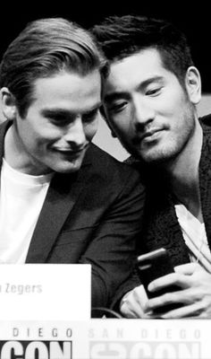 The Mortal Instruments: City of Bones at Comic Con Panel #SDCC (7/19/13) Malec... Kevin Zegers (to play Alec Lightwood) and the amazing Godfrey Gao (to play Magnus Bane) black and white. Too amazing, these two actors and these two characters.