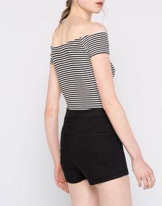 Body canalé escote barco - Bodies - Camisetas - Ropa - Mujer - PULL&BEAR México
