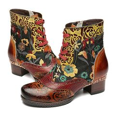 a7ae0c98a815b3 gracosy Ankle Bootie for Women, Leather Boots Vintage Fashion Short Boots  Side Zipper Floral Pattern Brown 9 M US