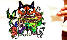 """Animal Instinct"" Henna Plant, Dry Leaf, Colorful Fashion, Bowser, Tattoo Designs, My Arts, Painting, Animals, Fictional Characters"
