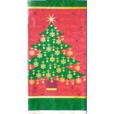 Xmas Golden Christmas Tree Plastic Rectangular Party Tablecover