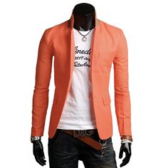 Men Blazer in Street Fashion Style. Casual Style Men's Blazer for Spring, Summer and Fall. Trendy Sports Jacket and KPOP Style Men Blazer. Fast and Simple Savings ~ No Code Required Men's Single Button Casual Blazer Fabric: Cotton, Linen Fit: Slim Fit Color Available: Black, White, Dark Blue, Light Blue, Orange, Green Size: XS, S, M XS Shoulder : 16 inch Length : 27 inch Chest : 39 inch Sleeve : 25 inch S Shoulder : 17 inch Length : 27 inch Chest : 41 inch Sleeve : 25 inch M Shoulder : 18…