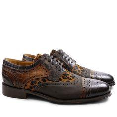 Derby Schuhe Phil 10 Big Croco Melanzana Dark Brown Wood Kudu Wax Carbon Hair On…