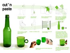 cut 'n' paste tea cup from an upcycled glass bottle