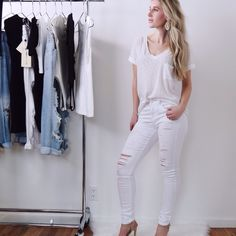 Diana▫️3 Items White ripped skinnys (0) $49, Ivory top (S) $32, Gray acid wash skinnys (0) $48. New. Plus discount. $116 total. Other