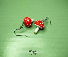 Orecchini in Fimo Funghi funghetti Polymer clay di MagieCraft